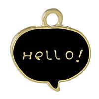 """Подвеска Диалоговое окно, Цинковый сплав, Золото, Черный с надписью """" Hello! """", Эмаль, 18 мм x 18 мм"""