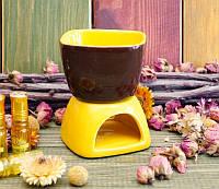 """Аромалампа """"Чаша"""" коричневая с жёлтым (8х8х11 см)"""