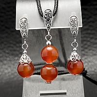 Сердолік, срібло, комплект кулон і сережки, 038КМС