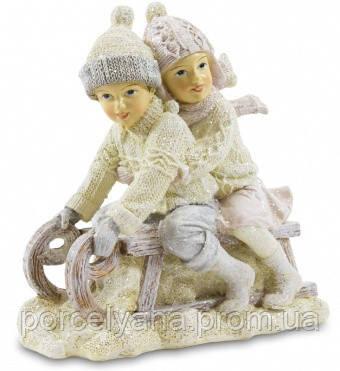 Фигурка дети на санках 14х8см