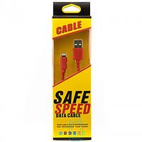 USB-Lightning шнур для iPhone 5/5S Safe Speed тканевый Красный