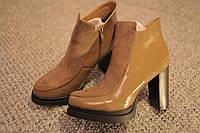 Женские ботинки каблук лак Италия зима какао замш 36-41