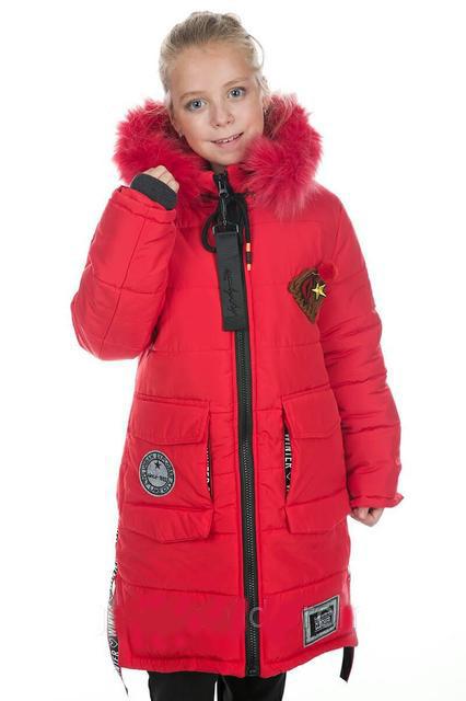 Модное зимнее пальто на девочку подростка с натуральной меховой опушкой на капюшоне