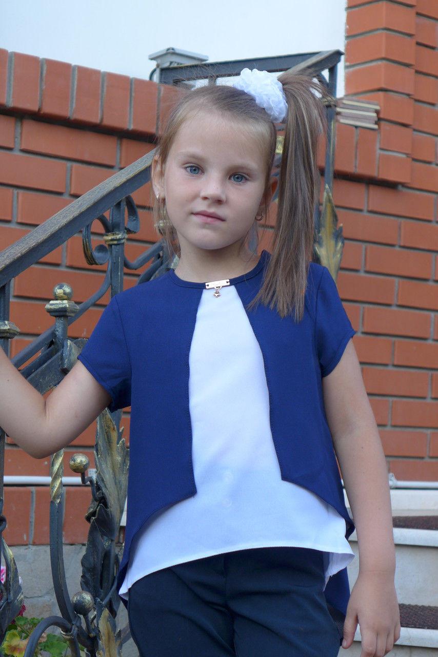 """Блузка для девочки """"Бантик""""(бело-синий)"""
