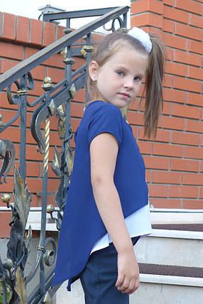 """Блузка для девочки """"Бантик""""(бело-синий), фото 2"""