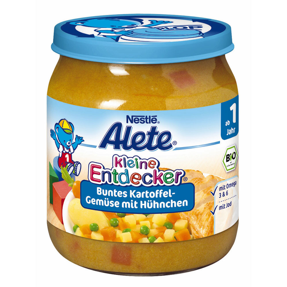 Alete kleine Entdecker Bio Menü Buntes Kartoffel-Gemüse mit Hühnchen картофель, овощи с курицей с 1 года 250 г
