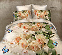 Двуспальный комплект постельного белья «Бязь роза с жемчугом »
