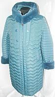 Зимнее пальто больших размеров 50-62 на тройном синтепоне украшено мехом мутон цвета джинс
