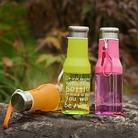 """Бутылка для воды """"Пейте воду"""" (550 мл) пластик и силикон"""
