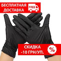 Перчатки нитриловые черные Nitrylex® PF Black S (6-7)