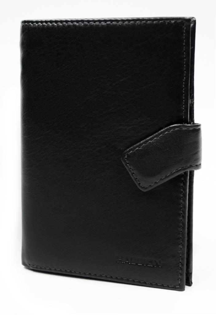 Вертикальный мсужской кошелек с отделом для паспорта в черном цвета  HASSION (H-062B)