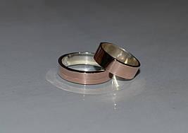 Кольца обручальные серебряные с золотом