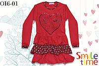 Платье трикотажное с рюшами р.98,104,110,116,122,128 SmileTime Love Bird, красное, фото 1