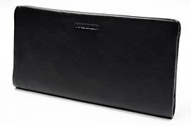 Мягкий кожаный мужской кошелек купюрник в черном цвета  HASSION (H-017)
