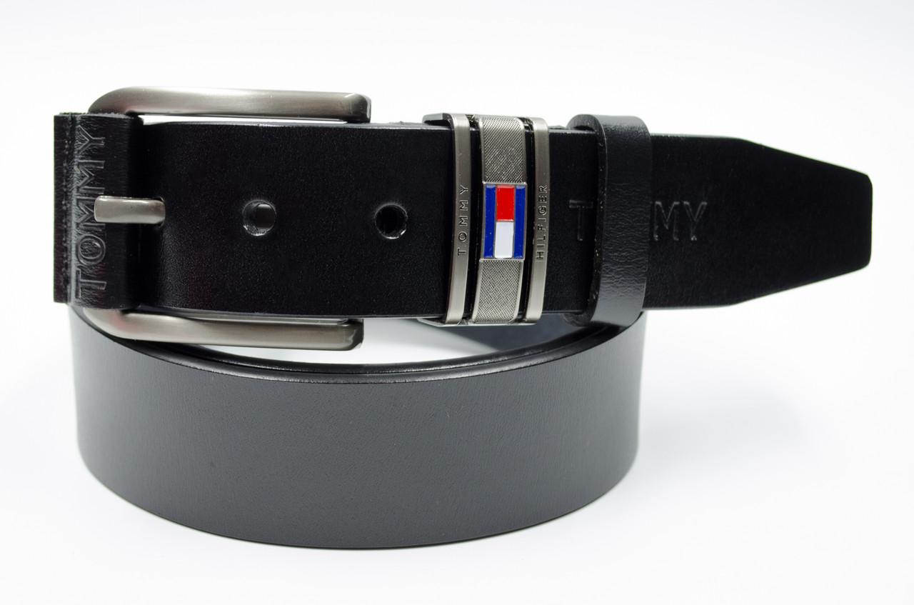 Мужской кожаный ремень в черном цвете в стиле Tommy Hilfiger (11250)
