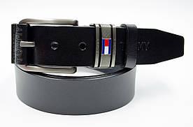 Чоловічий шкіряний ремінь в чорному кольорі в стилі Tommy Hilfiger (11250)