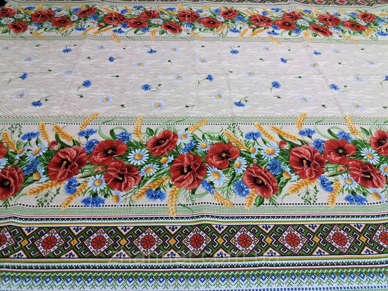 Тканина для скатертини рогожка Польові квіти 150 см (183231)