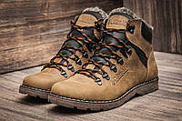 Ботинки зимние мужские Columbia, оливково-коричневые. Кожа, усиленный носок