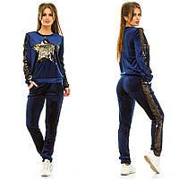 Женский бархатный спортивный костюм жа257