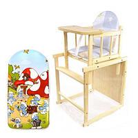 """Детский стульчик-трансформер для кормления """"Bocian bobas"""" из натурального дерева"""