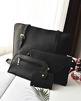 Женская сумка набор 4в1 + мини сумочка и кошелек черный, фото 1