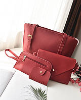 Женская сумка набор 4в1 + мини сумочка и кошелек красный