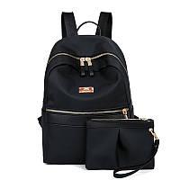 Женский рюкзак + клатч набор черный экокожа