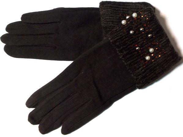Перчатки на меху с манжетом и декором коричневые размер 7