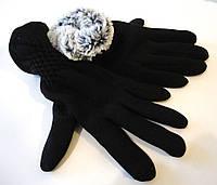 Перчатки женские черные с кроликом