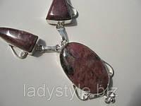 Интересное серебряное колье с лепидолитом от студии LadyStyle.Biz