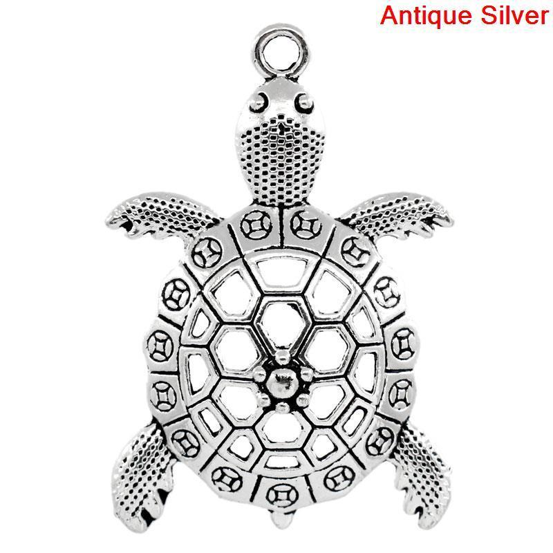 """Подвеска Животное, """" Черепаха """", Океанское украшения, Металл, Античное серебро, 5.7 см x 3.9 см"""