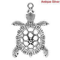 """Подвеска Животное, """" Черепаха """", Океанское украшения, Металл, Античное серебро, 5.7 см x 3.9 см, фото 1"""