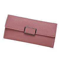 Женский кошелек портмоне розовый тройного сложения