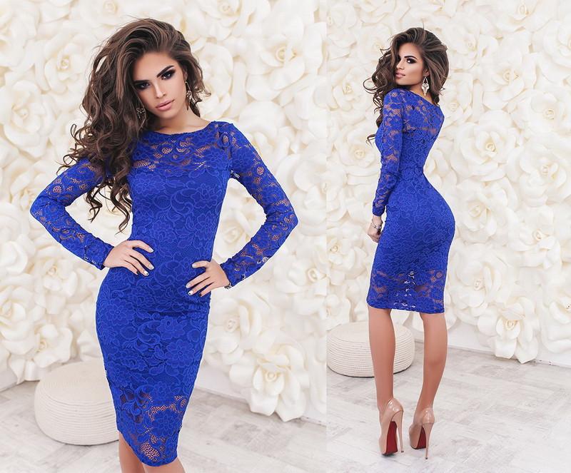 Красивое облегающее нарядное гипюровое платье-миди с рукавом  +цвета