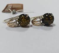 Серьги из серебра с золотом и зеленым янтарем Рима