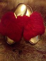 тапочки меховые женские кожа песец  размеры  36 - 41
