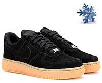 Зимние черные низкие замшевые меховые кроссовки Nike Air Force Low (black) NAF 49