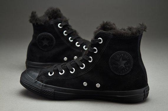 Черные высокие зимние мужские кеды Converse (Конверс) All Star с мехом KC19  - Интернет 49c3fb7c7d7