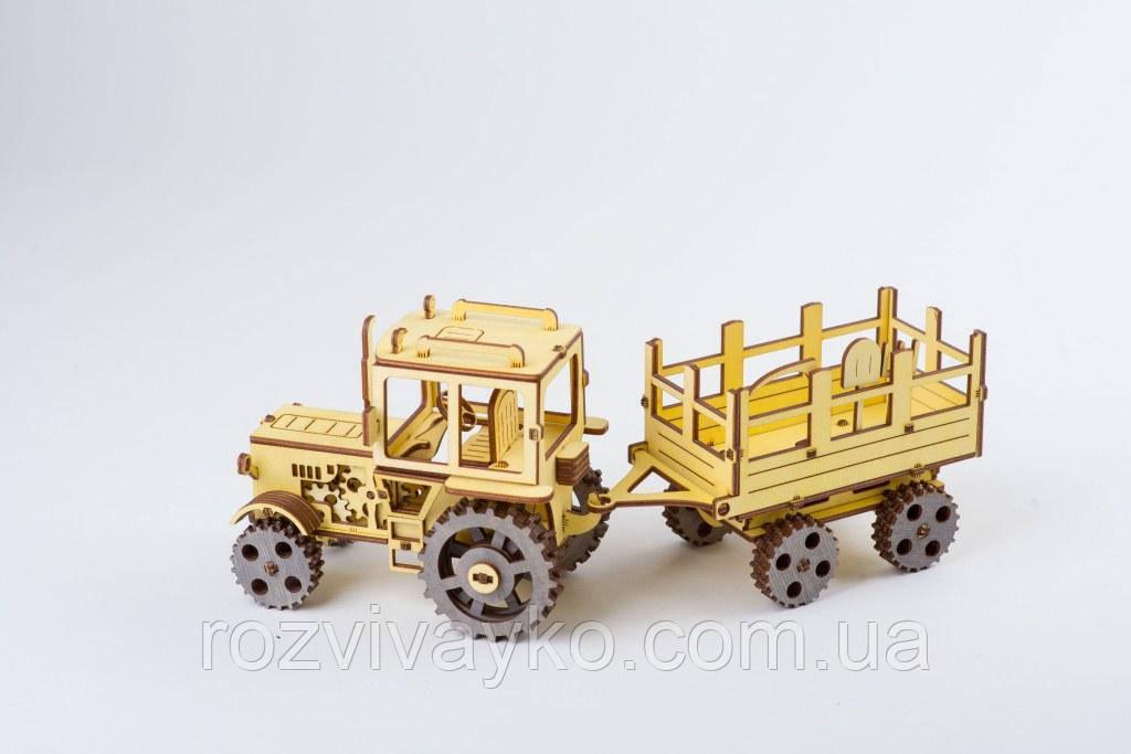 Деревянный 3D пазл ekoGoods трактор с прицепом, Украина