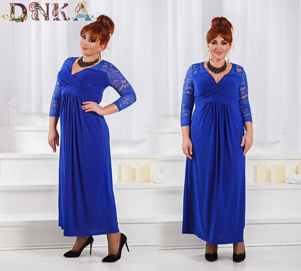 Платье вечернее большие размеры из кружева и струящегося трикотажа  код 1/8394