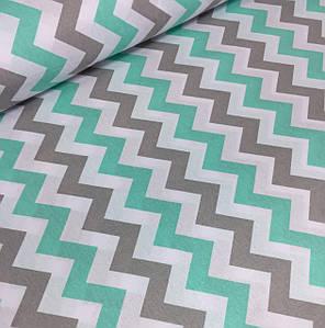 Хлопковая ткань польская зигзаг мятно - серый широкий №376