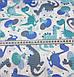 Хлопковая ткань польская Люкс динозавры серо-синие №371, фото 4