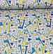 Хлопковая ткань польская жирафы желто-синие на сером №370, фото 2