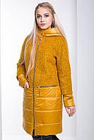 """Ledi M Женское комбинированное пальто """"2в1"""" RA 0431 горчичный Леди М"""