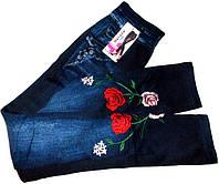 Лосины термо джинсовые с вышивкой на махре №208