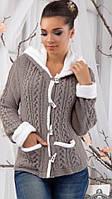 Кофта женская Тёплая вязанная на меху бежевая