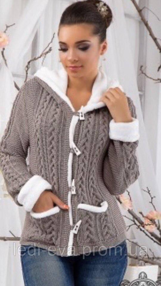 06eb6a4392bab0 Кофта женская Тёплая вязанная на меху бежевая, цена 501 грн., купить ...