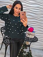 """Красивый, женский свитер свободного кроя """"Ажурная вязка, крупный жемчуг"""" РАЗНЫЕ ЦВЕТА"""