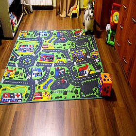 Детская ковровая дорожка Сити Лайф 3, Сити Лайф, войлочная, полиамид, 5 мм, Серо-зеленый, 2.0 х (нужная длина)