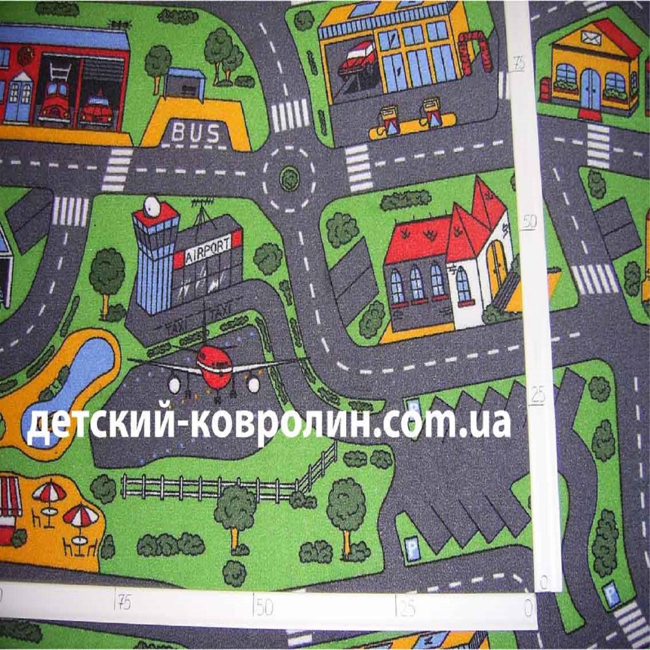 Детская ковровая дорожка Сити Лайф 3, Сити Лайф, войлочная, полиамид, 5 мм, Серо-зеленый, 2.5 х (нужная длина)